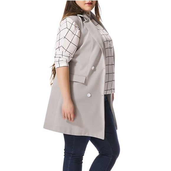 d81217e71aed5 Plus Size Sleeveless Long Grey Work Vest